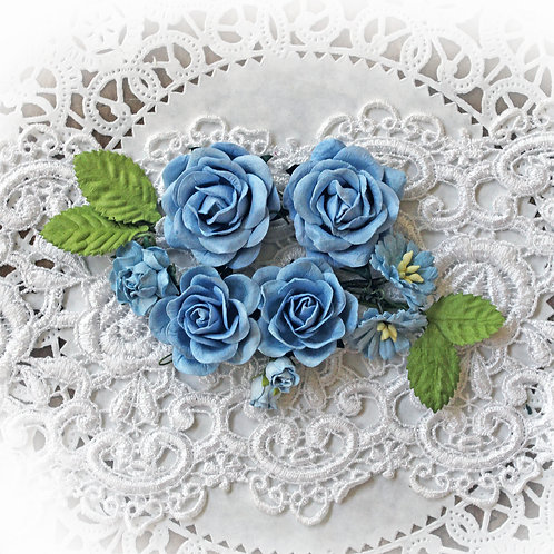 Timeless Blue Roses and Leaves Mulberry Paper Flowers