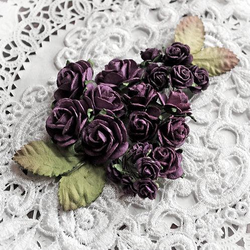 Mini Plum Mulberry Paper Roses & Leaves Set