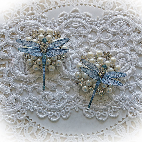 Suncatcher Blue Premium Paper Glitter Glass Dragonflies