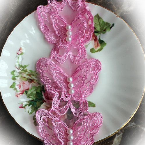 Beautiful Butterfly Lace~Pink 2 1/2 Inch Wide