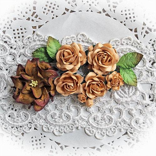 Golden Apricot Roses,Gardenia And Leaves Flower Set