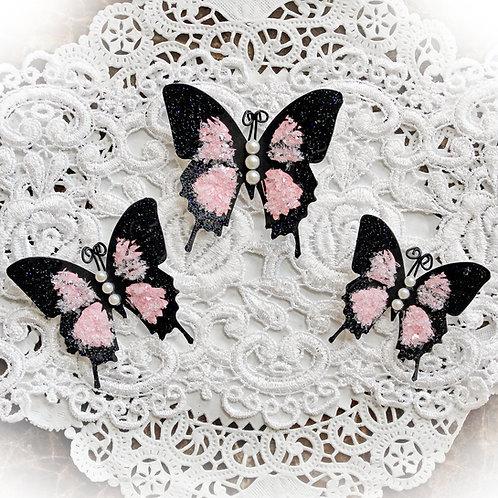 Pink Glitter Glass Butterflies