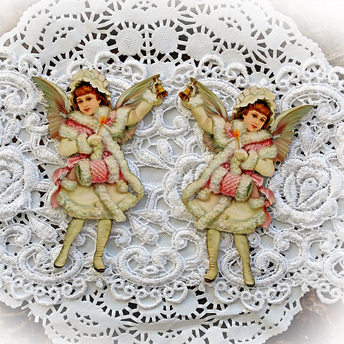 Printed Beautiful Board Small Victorian Winter Angel Laser Cut Chipboard
