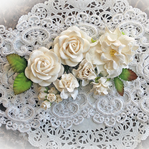 White curly roses mulberry paper flowers set dress up your scrapbook layouts cards altered items tags mini albums or anything your imagination can create with this beautiful white mulberry paper mightylinksfo