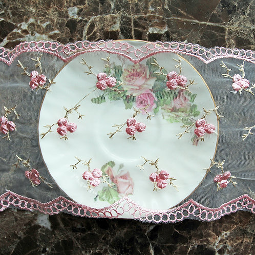 Embroidered Pink Roses Lace