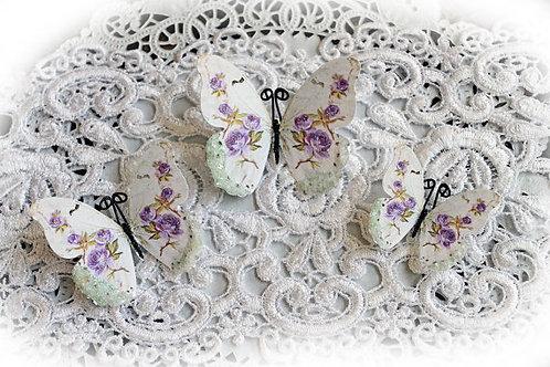 Shabby Lavender Roses Glitter Glass Premium Paper Butterflies