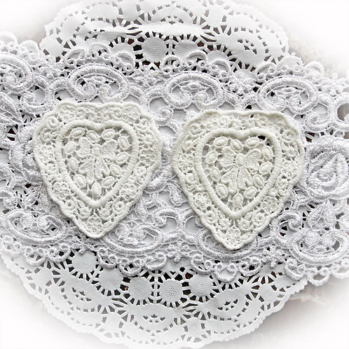 Reneabouquets Embroidered Heart Applique Set Of 2