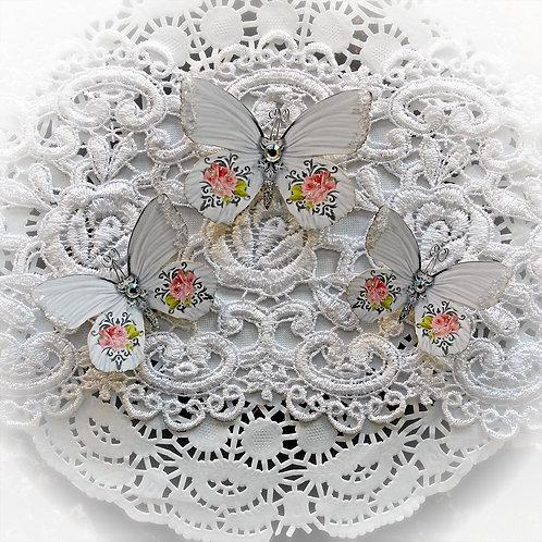 English Tea Rose Premium Paper Glitter Glass Butterflies