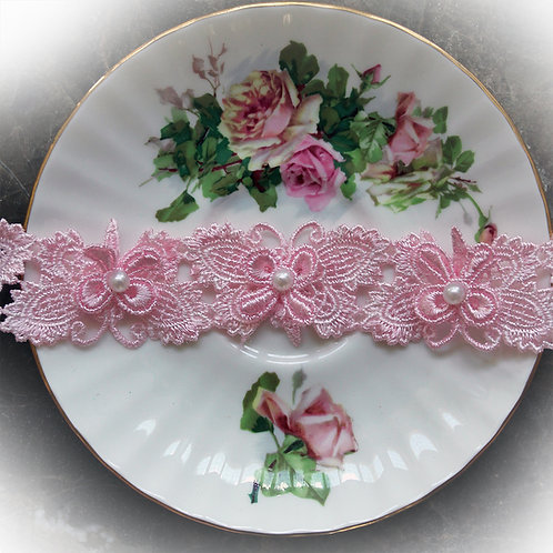 Lissie's Butterfly Lace~Pink 1 1/4 Inch Wide