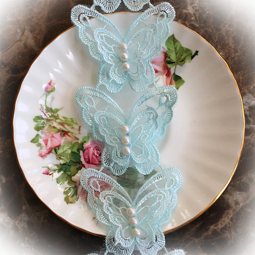 Beautiful Butterfly Lace~Baby Blue 2 1/2 Inch Wide