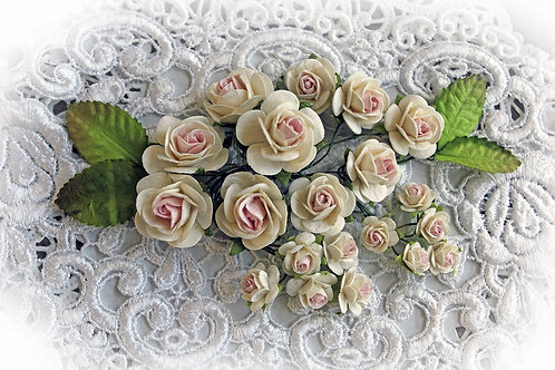 Mini Pink & Ivory Mulberry Roses & Leaves Set
