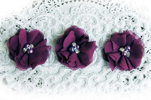 Plum Purple Chiffon Pearl & Rhinestone Flowers