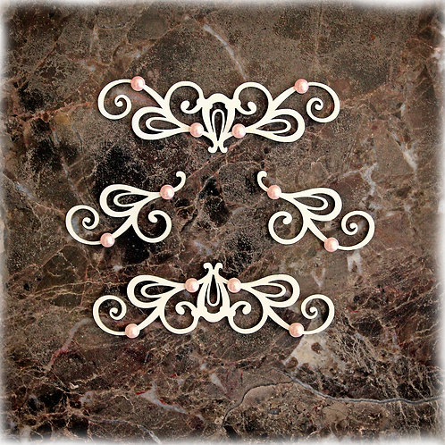 Beautiful Board Large Candy Cameo Flourishes Laser Cut Chipboard