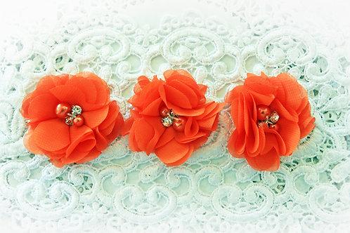 Pumpkin Chiffon Pearl & Rhinestone Flowers