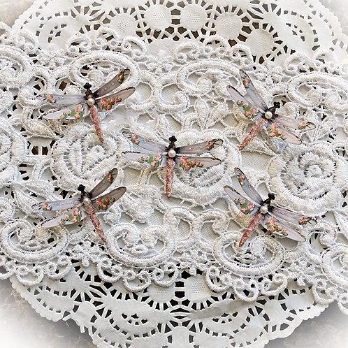 Tiny Treasures Watercolor Shabby Pink Roses Premium Paper Dragonflies