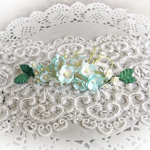 Itty Bitty Blossoms and Leaves Seafoam And White Mulberry Paper Flowers