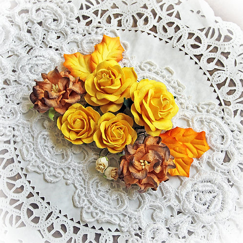 Fall Mix Yellow Roses and Gardenias Mulberry Paper Flowers