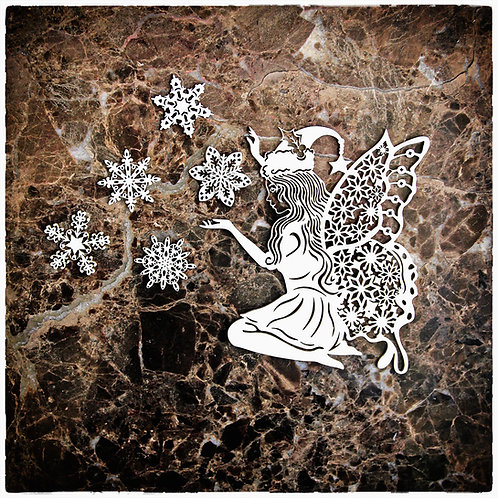 Beautiful Board Large Snowflake Fairy  Laser Cut Chipboard