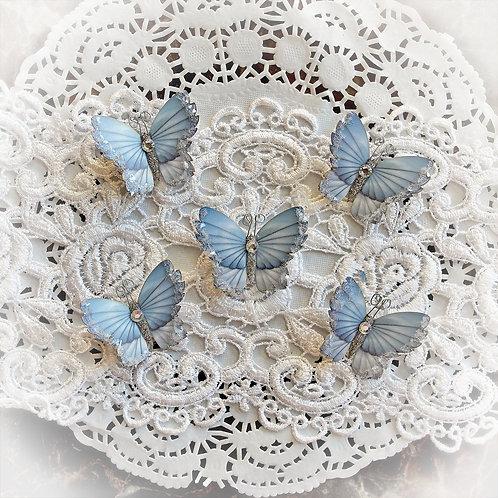 Tiny Treasures Winter Sky Premium Paper Glitter Glass Butterflies