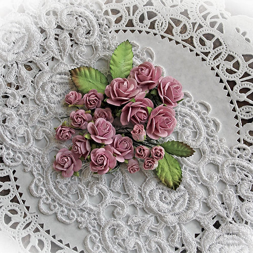 Mini Orchid Pink Mulberry Paper Roses And Leaves Set