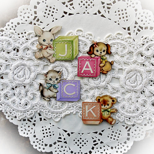 Large Baby Blocks 4 Character Build Your Own Printed Chipboard