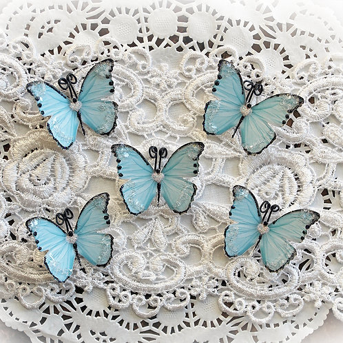 Tiny Treasures Sweetheart Blue Premium Paper Glitter Glass Butterflies