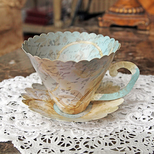 Reneabouquets French Script 3D Tea Cup Premium Paper DIY Die Cut Set