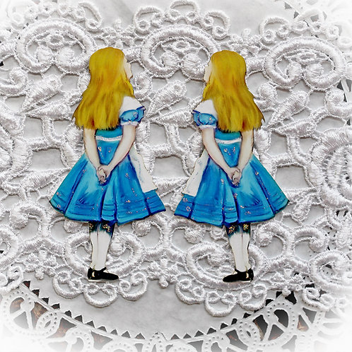 Small Vintage Alice Looking Up Premium Paper Embellishment