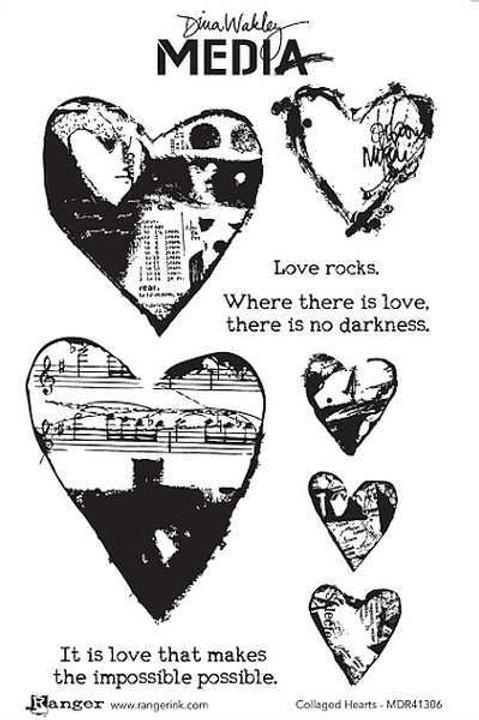 Sale Ranger Dina Wakley Stamp Set~Collaged Hearts