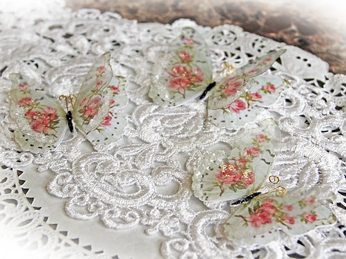 Shabby Pink Roses Glass Wing Double Butterflies