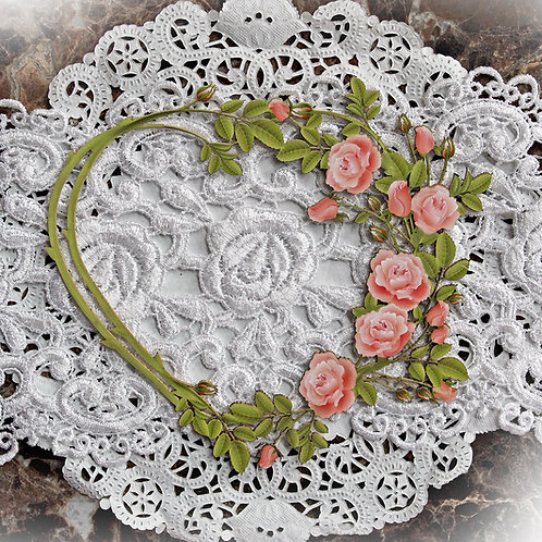 Printed Beautiful Board Large Vines & Roses Heart Frame Laser Cut Chipboard