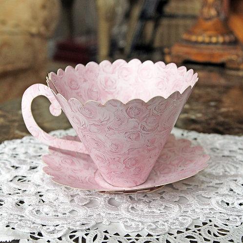 Reneabouquets Cabbage Rose 3D Tea Cup Premium Paper DIY Die Cut Set