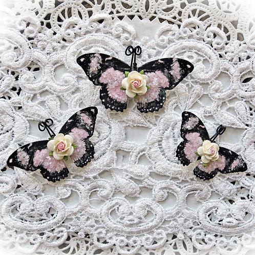My Romantic Heart Pink Glitter Glass Butterflies