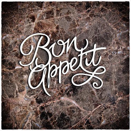 Beautiful Words Large Bon Appetit Laser Cut Chipboard
