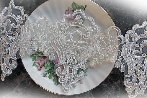Wedding Day Lace~White 4.75 Inch Wide Voile