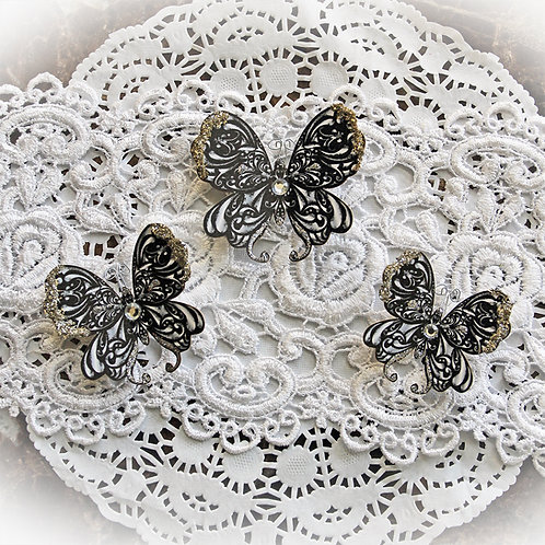Black Onyx Premium Paper Glitter Glass Butterflies