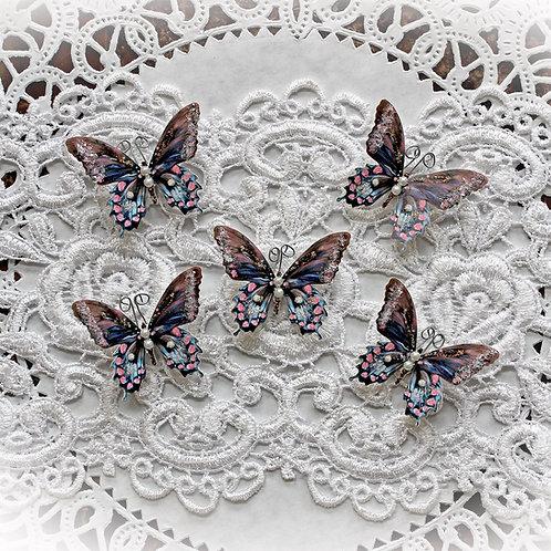 Tiny Treasures Shabby Chic Premium Paper Glitter Glass Butterflies