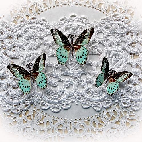 Mint Chocolate Chip Premium Paper Glitter Glass Butterflies