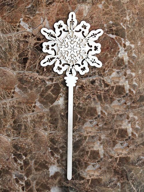 Beautiful Board Pocket Wand Snowflake Two  Laser Cut Chipboard