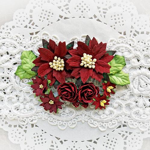 Christmas Burgundy Mulberry  Poinsettias, Roses & Holly Leaves Flower Set