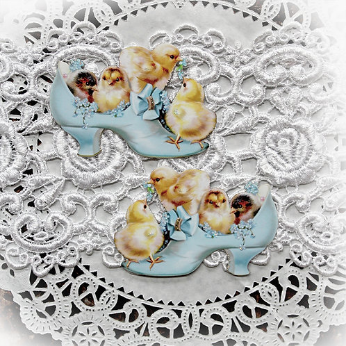 Vintage Sweet Baby Chicks In Shoe Die Cut Set~Blue