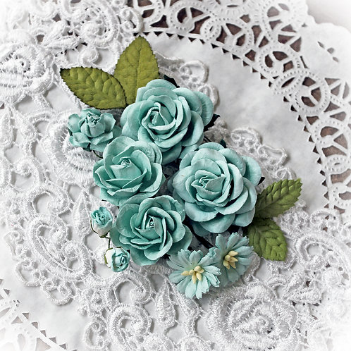 Seafoam Roses and Leaves Mulberry Paper Flowers