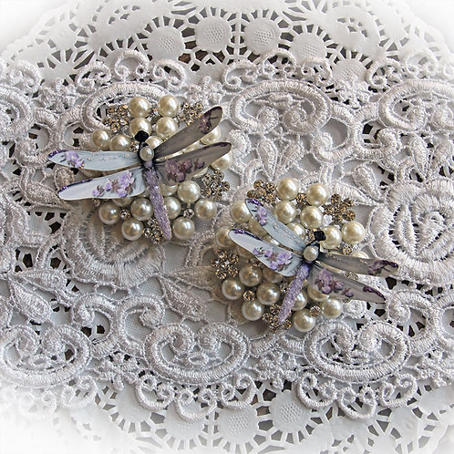 Shabby Sugar Plum Roses Premium Paper Glitter Glass Dragonflies