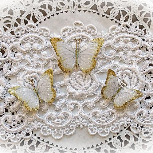 Gold Tinsel Premium Paper Glitter Glass Butterflies