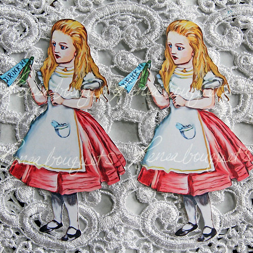 Watercolor Drink Me Alice In Wonderland  4 x 2