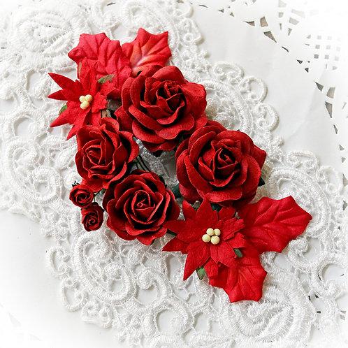 Christmas Velvet Red Mulberry Poinsettias, Roses And Holly Leaves Set