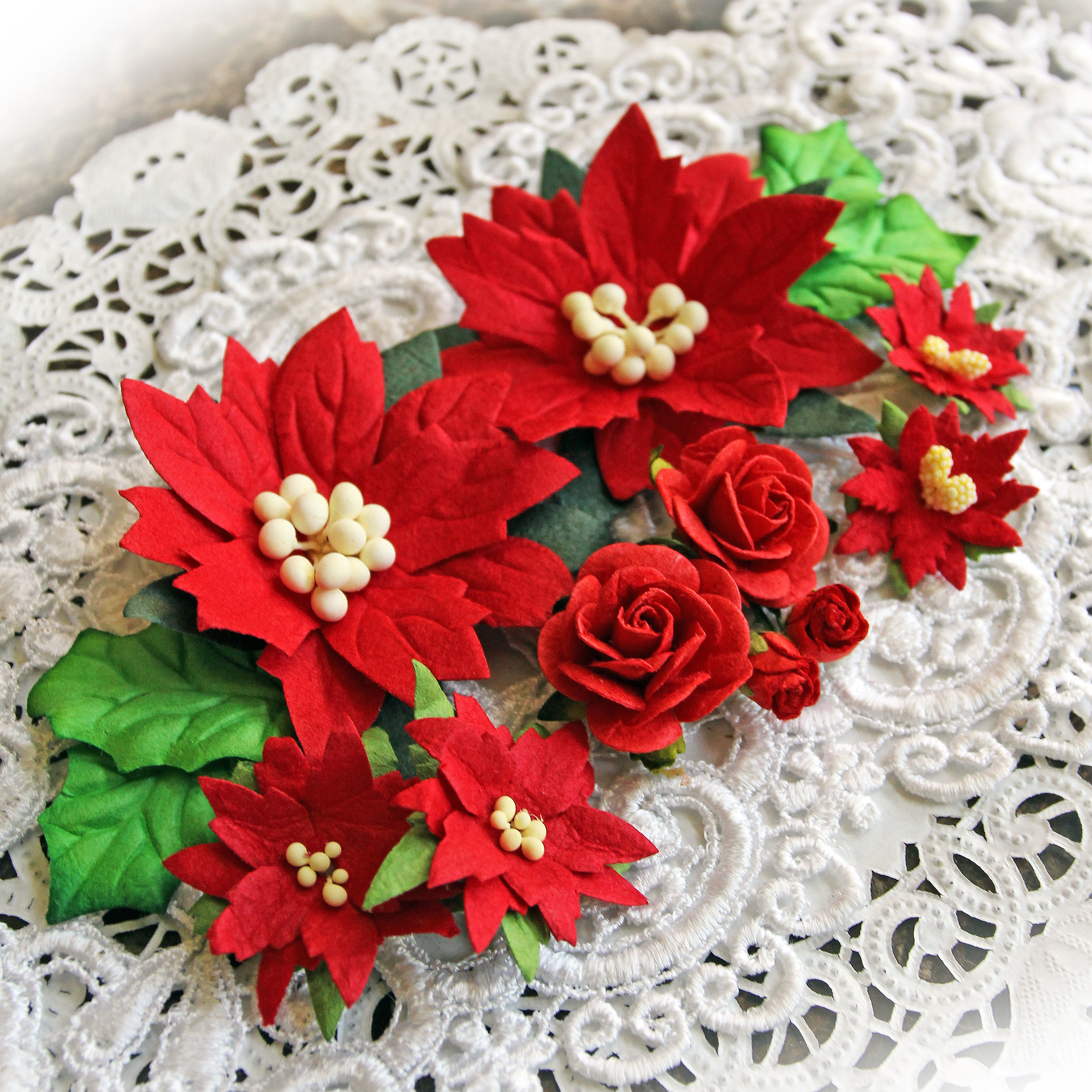 Christmas red mulberry paper poinsettias roses holly leaves tags mini albums or anything your imagination can create with this beautiful red mulberry paper poinsettias mini roses holly leaves set mightylinksfo