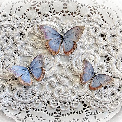 Watercolor Spun Lavender Premium Paper Glitter Glass Butterflies