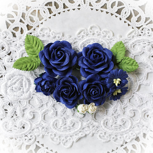 Royal Blue Roses and Leaves Mulberry Paper Flowers