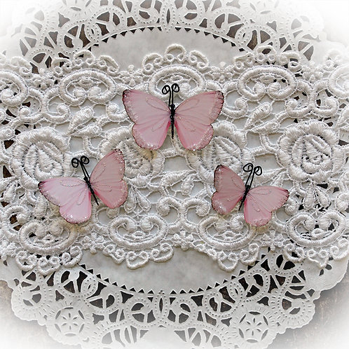 Darling Pink Glitter Glass Butterflies